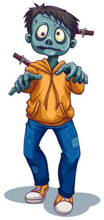 stabbed: Ilustraci�n de un zombie masculina miedo sobre un fondo blanco
