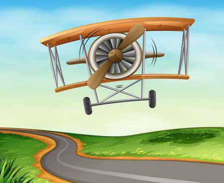jetplane: Illustration of a vintage plane flying