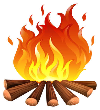 Illustration of a fire on a white background   Illustration