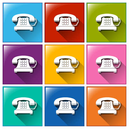 phone button: Illustration of the telephone buttons on a white background