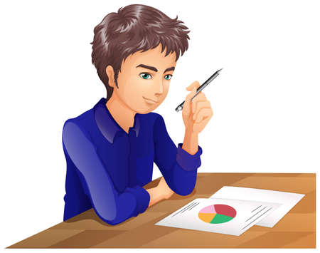 Illustration of a boy thinking while taking an exam on a white background