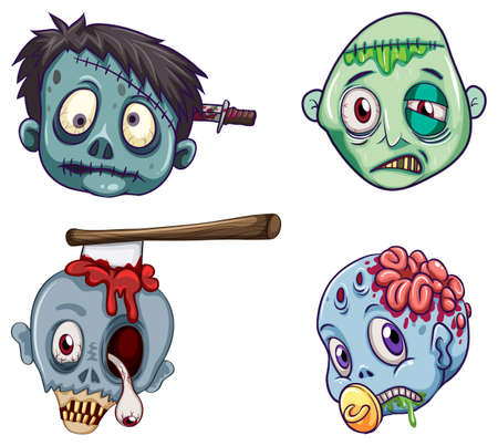 Illustration of the heads of the zombies on a white background
