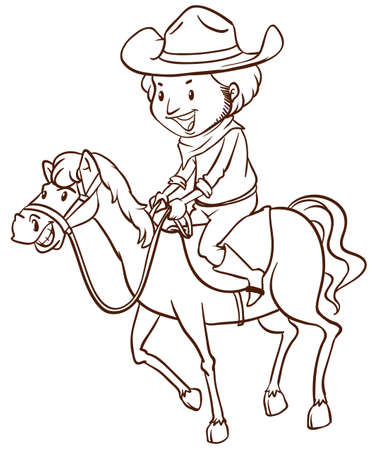 Illustration of a simple drawing of a cowboy on a white background   Vector
