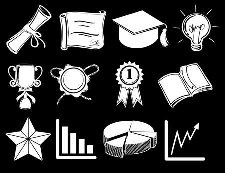 victorious: Illustration of the different things showing success on a black background