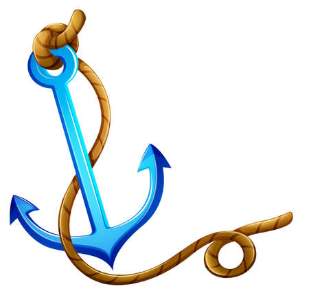 Illustration of an anchor with a rope on a white background   Vector