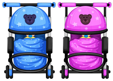 Illustration of the baby strollers on a white background   Vector