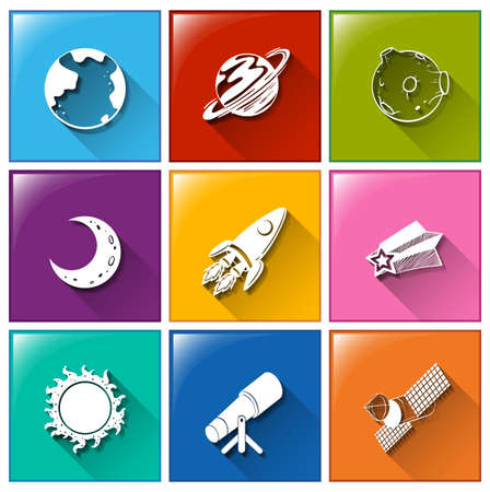 outerspace: Illustration of the icons with the things found in the outerspace on a white background   Illustration