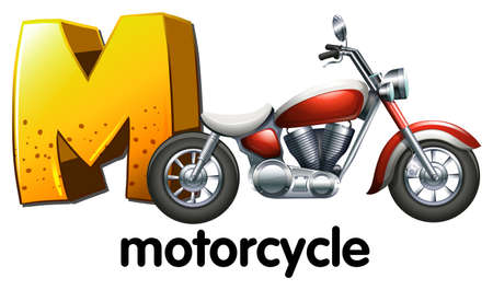 motorised: Illustration of a letter M for motorcycle on a white background