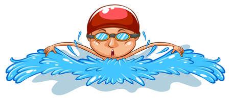 흰색 배경에 수영 남자의 간단한 드로잉의 그림
