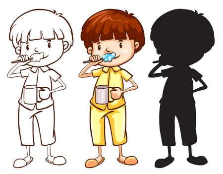 Illustratie van een schets van een jongen tandenpoetsen in verschillende kleuren op een witte achtergrond