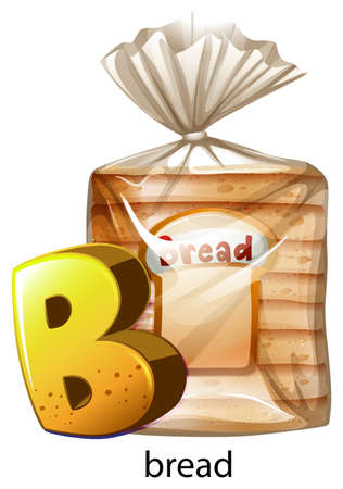 packaged: Illustration of a letter B for bread on a white background
