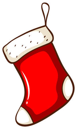 Illustration of a simple drawing of a red Christmas stocking on a white background