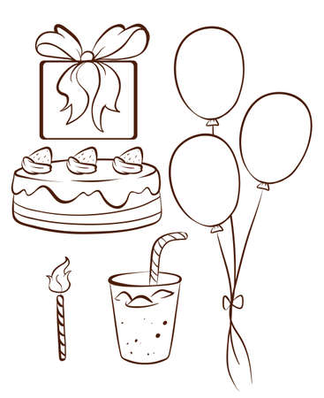 oblong: Illustration of a simple drawing of a birthday celebration on a white background