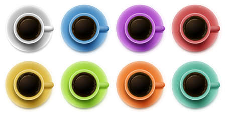 Illustration of the topview of the cups with coffee on a white background