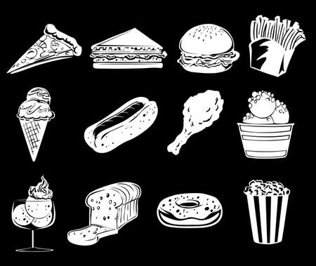 frozen meat: Illustration of the different foods on a black background