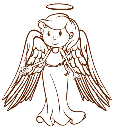angel white: Illustration of a simple sketch of an angel on a white background