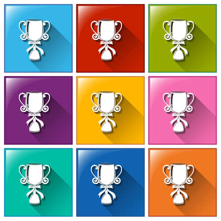 awarding: Illustration of the buttons with trophies on a white background
