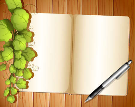 ballpen: Illustration of an empty template with plants and a ballpen