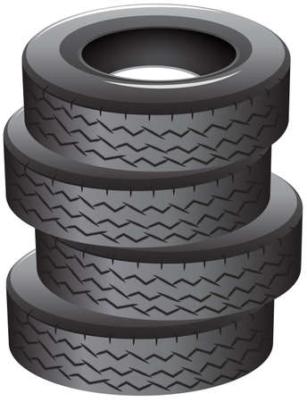 4 wheel: Illustration of a pile of tires on a white background  Illustration
