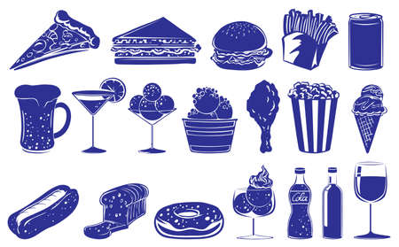 Illustration of a doodle design of the different foods and drinks a don a white background  Vector