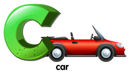 Illustration of a letter C for car on a white background  Vector