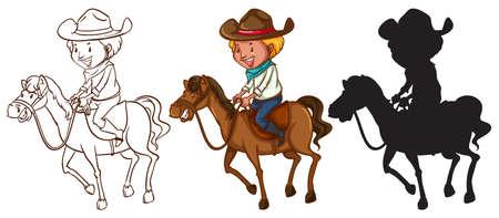 extant: Ilustraci�n de un queches de un hombre montando un caballo sobre un fondo blanco Vectores