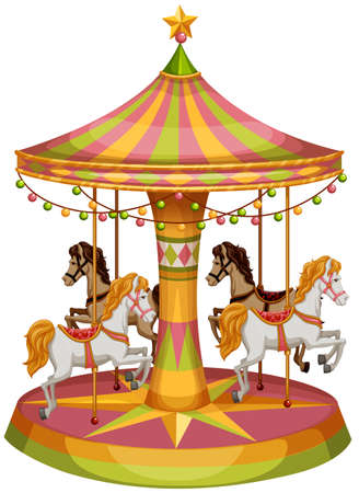 Illustration of a merry-go-round horse ride on a white background  Illustration