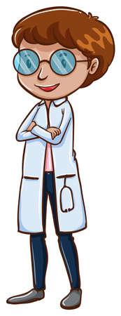 медик: Иллюстрация Простой эскиз врача на белом фоне