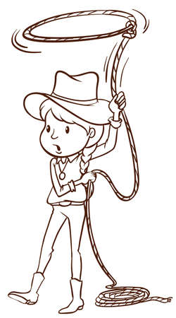 tied girl: Illustration of a plain sketch of a cowgirl on a white background