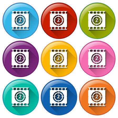Illustration of the movie buttons on a white background
