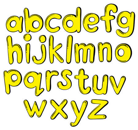 Illustration of the letters of the alphabet in yellow colors on a white background  Vector