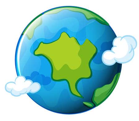 milkyway: Illustratie van de planeet Aarde op een witte achtergrond Stock Illustratie