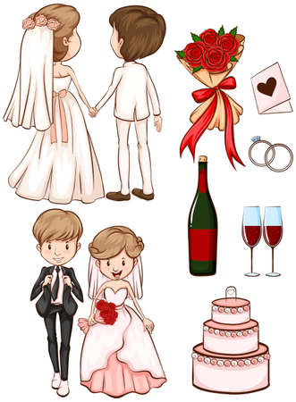 Illustration of a simple sketch of a wedding on a white background  Vector