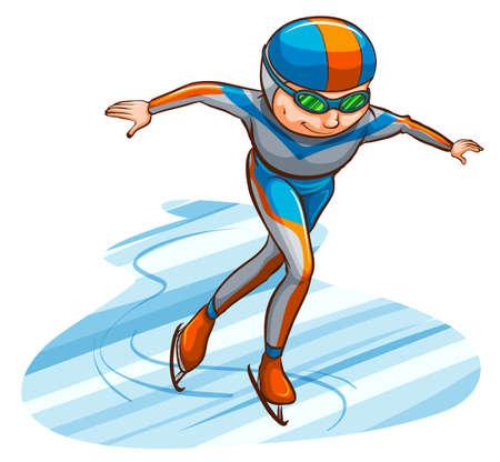 예행 연습: Illustration of a simple coloured sketch of an athlete on a white background
