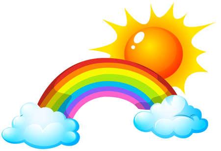Illustration of a sun and a rainbow Vector