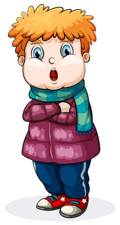 warm clothes: Illustration of a close up boy wearing jacket