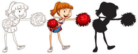 black cheerleader: Illustration of different drawing of a cheerleader Illustration