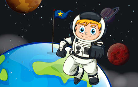 Illustration of an astronaut in the space Vector