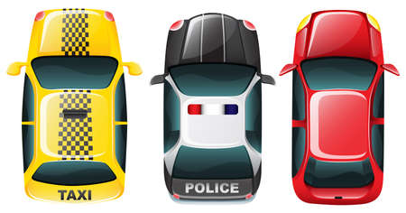 police car: Illustration of roof top of different cars