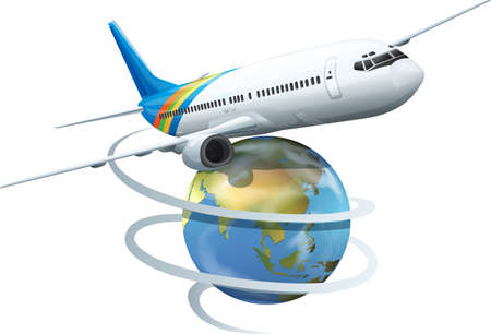 Illustration of an airplane flying around the world Vector