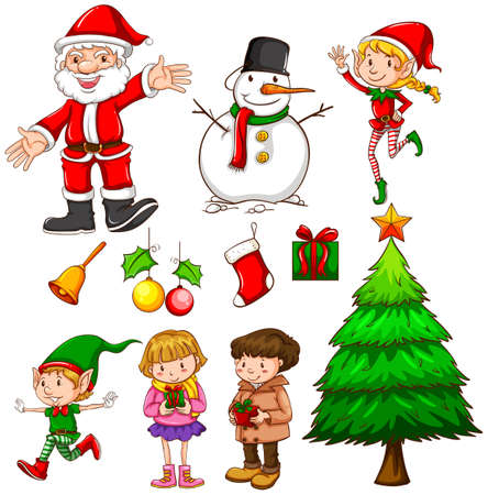 Illustration of a set of christmas Vector