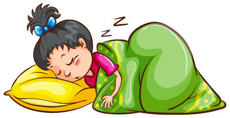 child sleeping: Ilustraci�n de una ni�a durmiendo Vectores