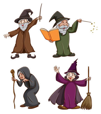 Illustration of a witch and wizards Vector