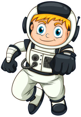 illustration: Illustration of a male astronaut on a white background