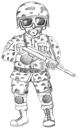 combat boots: Illustration of a single soldier