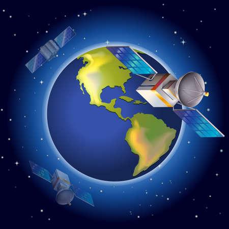 artificial satellite: Illustration of the satellites surrounding the planet