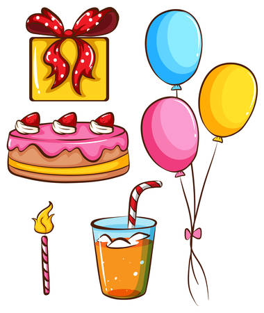 softdrink: Illustration of a simple coloured sketch of a birthday celebration on a white background Illustration