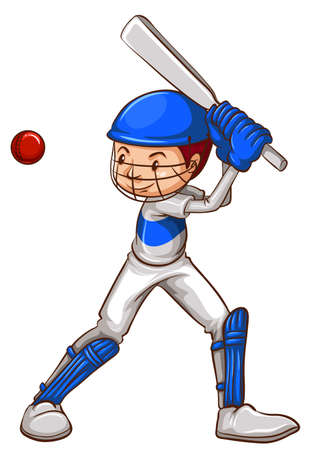 contingent: Illustration of a sketch of a cricket player on a white background