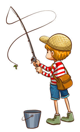 man fishing: Illustration of a simple sketch of a young boy fishing on a white background