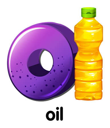 cooking oil: Illustration of a letter O with sample word Illustration